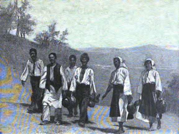 Ţărani sârbi cărând apă pentru tabăra de la Brza Palanka